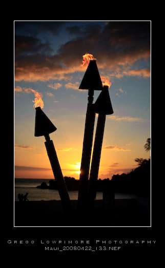 Tiki Lamps Sunset