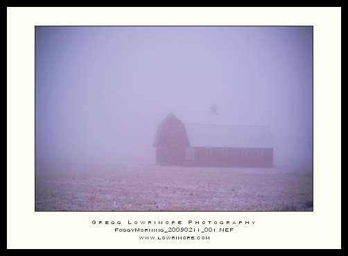 Foggy Morning Barn